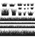 Grass silhouette seamless pattern and bushes vector image