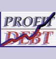 growing arrow profit debt eps10 vector image vector image