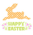 happy easter text with rabbit silhouette happy vector image