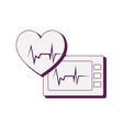 heart cardiology with ekg machine vector image vector image
