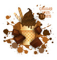 ice cream chocolate cone colorful dessert icon vector image vector image