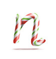 letter n 3d realistic candy cane alphabet vector image vector image