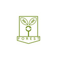 line art crest with magnifier and leaves vector image vector image