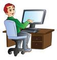 man using a desktop computer vector image vector image