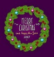 Merry Christmas And Happy New Year 2017 Vintage vector image vector image