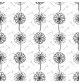 monochrome dandelion flowers and seeds seamless vector image vector image
