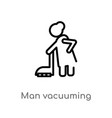 outline man vacuuming icon isolated black simple vector image vector image