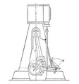 outline of a steam engine marshall gear reducing vector image