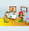 painter and portrait vector image vector image