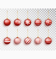 red christmas balls on white isolated set vector image