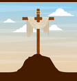 sacred cross in hill sky catholic religion design vector image vector image