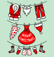 santa claus clothesline christmas card vector image