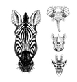 set hand drawn animal sketch vector image