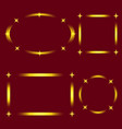 set of golden stylish frames with stars isolated vector image