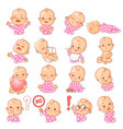 set with baby sticker different emotions vector image vector image