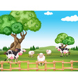 Sheeps and cows in the field vector image