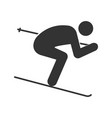 skier glyph icon vector image