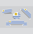 uruguayan flag stickers and labels vector image vector image
