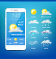 weather forecast app realistic smartphone vector image vector image