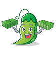with money peas mascot cartoon style vector image vector image