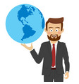young businessman holding the planet in his hand vector image vector image