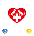 logo vet clinic pet care dog and cat in the heart vector image