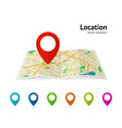 set of marker pointer on map map modern plan pin vector image