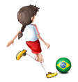 A girl using the soccer ball with the flag of vector image vector image