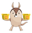 armadillo holding sale boxes on white background vector image vector image