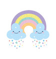 baby shower cute rainbow with clouds rain hearts vector image vector image