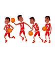 basketball player child set various poses vector image