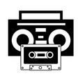 boombox stereo and cassette music background vector image