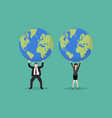 businessman and woman struggling to carry globe vector image vector image