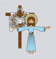 cartoon jesus christ ascension cross and crown vector image vector image