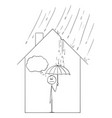 cartoon man holding umbrella inside his family vector image