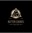 classic shinning triangle butter cookies logo vector image