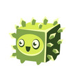 cute fantastic green plant character square shape vector image vector image