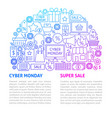 cyber monday line template vector image