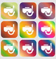 Diving mask icon sign Nine buttons with bright vector image vector image