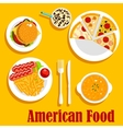 Fast food lunch of american cuisine flat icon vector image vector image