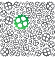 Green near gray gears background vector image vector image