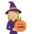 halloween witch with magic pumpkin vector image vector image