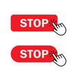 hand cursor clicks stop button vector image vector image