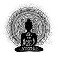 isolated buddha silhouette and mandala design vector image