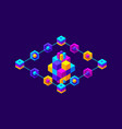 isometry icon blockchain crypto currency network vector image
