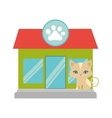 Kitten blue eyes pet shop facade paw print vector image