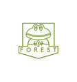 line art crest with simple frog vector image vector image