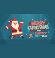 merry christmas and happy new year greeting card vector image vector image