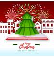 merry christmas greeting card with christmas tree vector image vector image