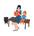 mother and daughter reading book people sitting vector image vector image
